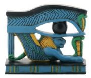 Blue and Green Lion Wedjat Statue Egyptian Style